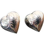 Vintage Sterling Silver Etched Puffed Heart Post Earrings ~ Circa 1980's~