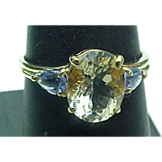 14K Yellow Gold Yellow Quartz & Tanzanite Ring