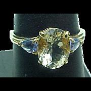 14K Yellow Gold Yellow Quartz & Tanzanite Ring