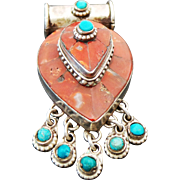Sterling Silver Red Coral & Turquoise Dangle Pendant