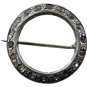 Sterling Silver Round Rhinestone/Paste Brooch/Pin