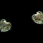 14K Rose & Yellow Gold Pierced Post Heart Earrings