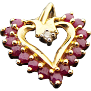 Vintage Ruby & Diamond Heart  Pendant.