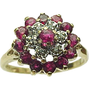 10K Yellow Gold Ruby & Diamond Cluster Ring