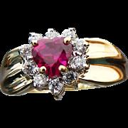 10K Yellow Gold Lab Created Ruby Heart & Diamond Ring