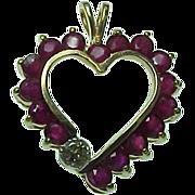 Vintage 14K Yellow Gold Ruby & Diamond Heart Pendant