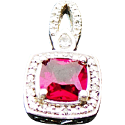 Sterling Silver SAI Simulated Ruby & Topaz Pendant