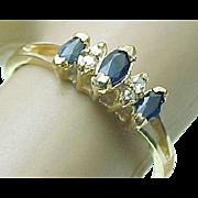 Ladies Vintage 10K Yellow Gold Marquise Blue Sapphire & Diamond Ring