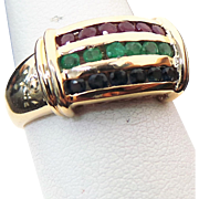 14K Yellow Gold Ruby, Emerald, Sapphire Band