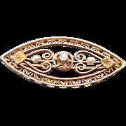 Victorian 10K Gold Filigree Seed Pearl & Diamond Brooch