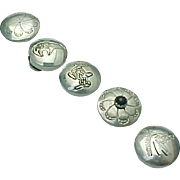 Set of 5 Decorative Silver Button Covers