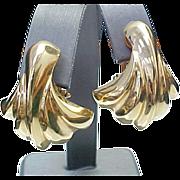 14K Yellow Gold Lever Back Shell Shape Earrings