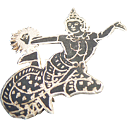 Sterling Silver Cut Out Siam Lady Pin