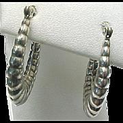 Sterling Silver Scalloped Hoop Pierced Earrings