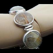 Sterling Silver Golden Rutilated Quartz Toggle Bracelet