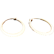 14K Yellow Gold Small Decorative Hoop Earrings