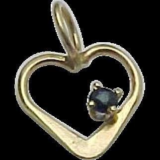 14K Yellow Gold Sapphire Open Heart Charm