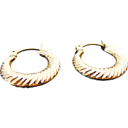 14K Yellow Gold Small Scalloped Hoop Earrings