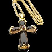 Sterling Silver /Vermeil Smoky Quartz & Garnet CROSS Necklace