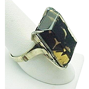 Vintage Sterling Silver 15.00 Carats Emerald Smokey Quartz Ring