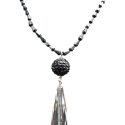 Black Spinel & Crystal Necklace ~ Circa 1995