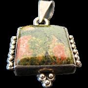 Vintage Sterling Silver Agate Square Pendant