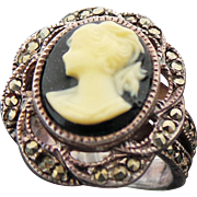 Sterling Silver & Marcasite Carved Hard Stone Cameo Ring