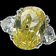 Sterling Silver 7.50 Faux Oval Yellow Diamond & Heart Shape Diamond Ring