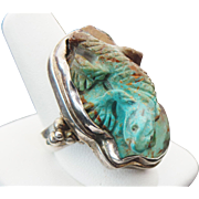 Sterling Silver Three Dimensional Lizard Royston Turquoise