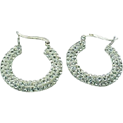 Sterling Silver Pave Simulated Diamond Hoop Earrings
