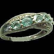 Vintage Sterling Silver 1.00 carat Faux Aqua Marine Band