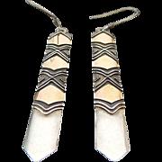 Vintage Sterling Silver/14k Yellow Gold Pierced Long Dangle Earrings