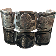 Mexico Sterling Silver, Hinged Story Telling Panel Bracelet