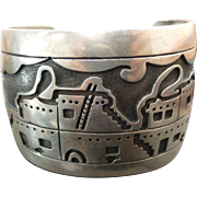 Navajo Sterling Silver, Story Telling WIDE Cuff ~ Solid