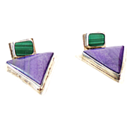 Vintage Sterling Silver Sugilite And Malachite Dangle Earrings