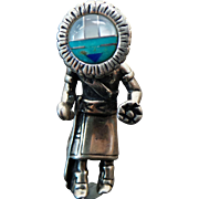 Vintage Sterling Silver Solid Sunface Kachina Doll Pendant