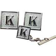 Vintage Silver Initial K Tie Tac & Cuff Links