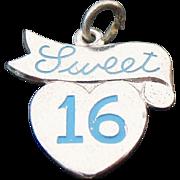 Vintage Sterling Silver, Heart Sweet 16 Blue Enameled Charm