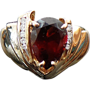 10K Yellow Gold 2.00 Carat Pear Red Tourmaline & Diamond Ring