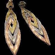 14K Tri Color Gold Pierced Dangle Earrings