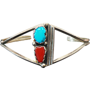 Sterling Silver Turquoise & Coral Cuff