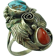 Vintage Sterling Silver, Billy Slim Navajo Turquoise And Coral Ring
