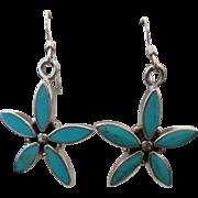 Sterling Silver Pierced Dangle Inlaid Turquoise Flower Earrings