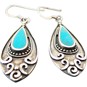 Vintage Sterling Silver Turquoise Pierced Dangle Earrings