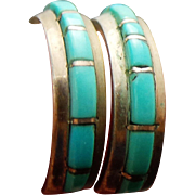 Sterling Silver Turquoise Huggie Pierced Post Earrings