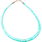 Native American Turquoise HEISHI Bead Sterling Silver Clasp Necklace