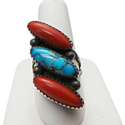Native American, Sterling Silver Elongated Turquoise & Coral Ring