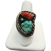 Turquoise & Coral Ring circa 1960's
