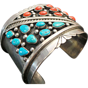 Native American Sterling Silver, Turquoise & Coral Wide CUFF ~ Navajo Tom Willeta ~