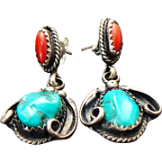 Sterling Silver Pierced Post Dangle Turquoise/Coral Earrings